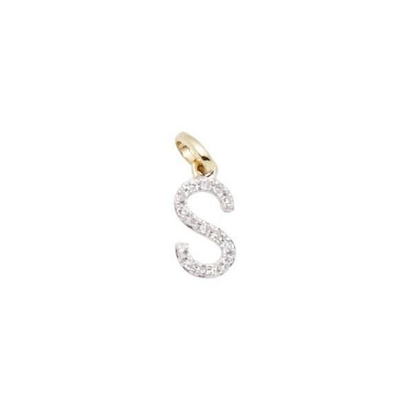 14 k or massif massif or et diamant initiale charme - lettre S - 8mm - parfait! 8f382c