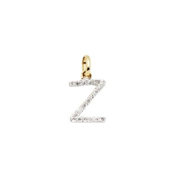 14 k or massif et diamant initiale charme - lettre Z Z lettre - 8mm - parfait! 963c3b