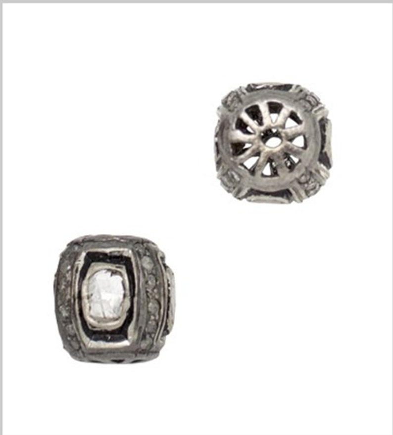 10x8mm Just Under 1 Carat TW of Diamonds Rounded Square Oxidized Sterling Silver Bead Four Sided Bead with Four Lovely Rose Cut Diamonds