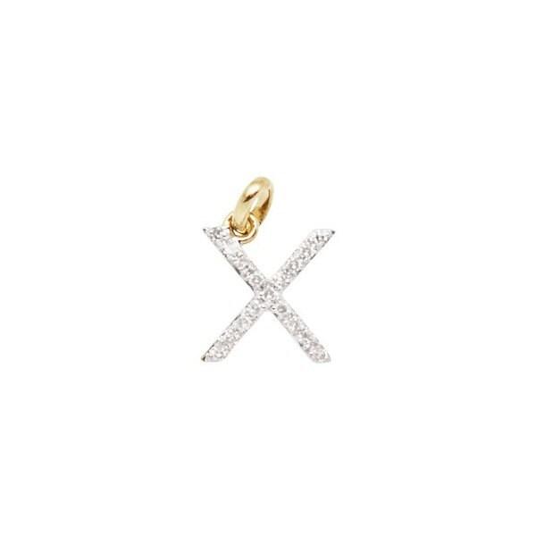 14 k or massif et diamant diamant et initiale charme - lettre X - 8mm - parfait! b213f7
