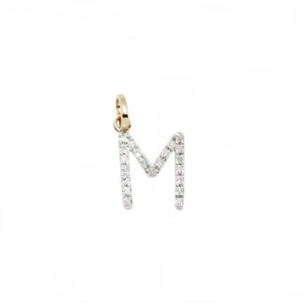 14 k k 14 or massif et diamant initiale charme - lettre M - 8mm - parfait! 4dc42e