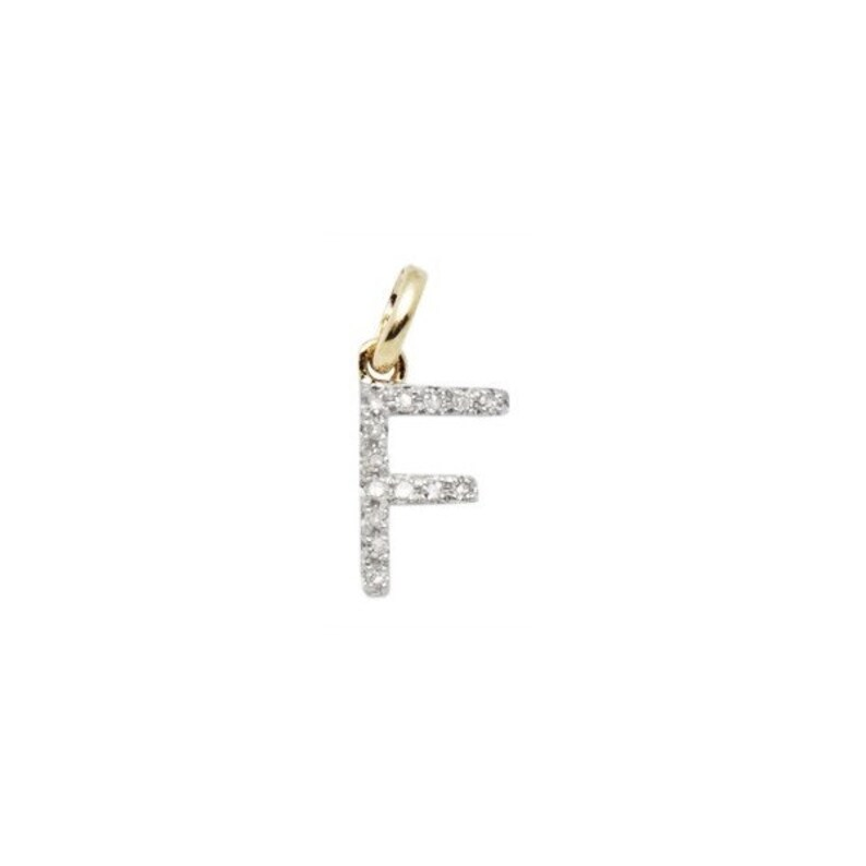 Perfect! Letter F 8mm 14k SOLID Gold and Diamond Initial Charm