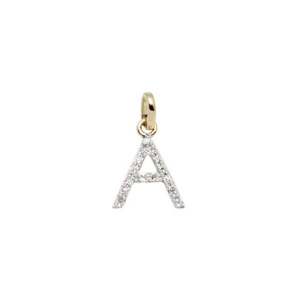 14k charme charme 14k Initial en or massif et diamant - lettre A - 8mm - 14k diamant pousser présent cd01b5