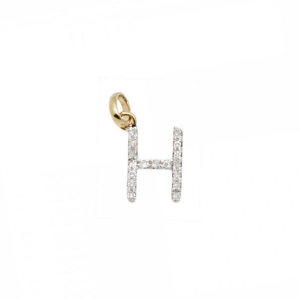 14 k or massif et diamant initiale charme - lettre H H lettre - 8mm - parfait! e7c5da