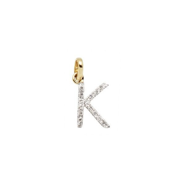 14 k or massif et diamant initiale initiale diamant charme - lettre K - 8mm - parfait! 78dd9c
