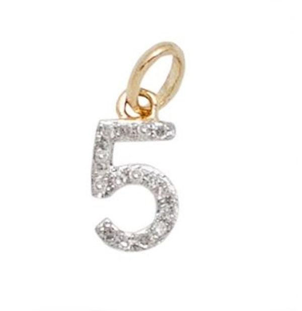 14 k or or k massif et diamant numéro charme - numéro 5-8mm - parfait! 457f9d