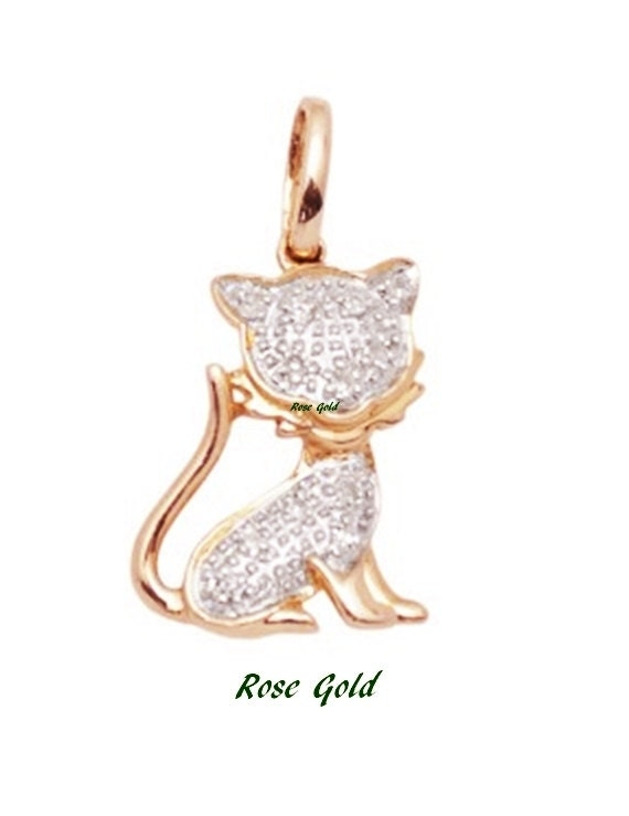 White Diamond and 14k Solid Gold Cat Pendant Charm, 14k Gold and Diamond Kitty Pendant Charm, Fine Jewelry Supplies, Minimal
