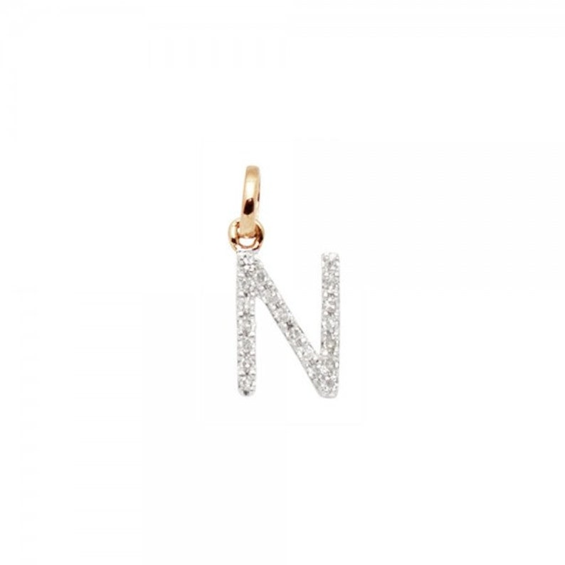 14k SOLID Gold and Diamond Initial Charm 8mm Letter X Perfect!