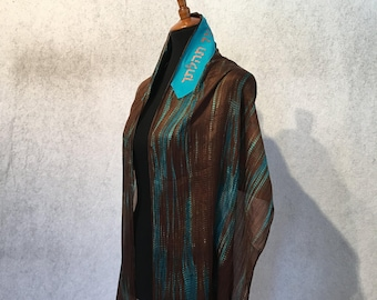 Brown and Teal Silk Tallit