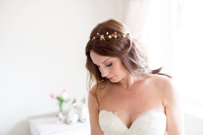 Ophelia Halo gold halo. Bridal Halo. Bridal Hair Accessory image 0