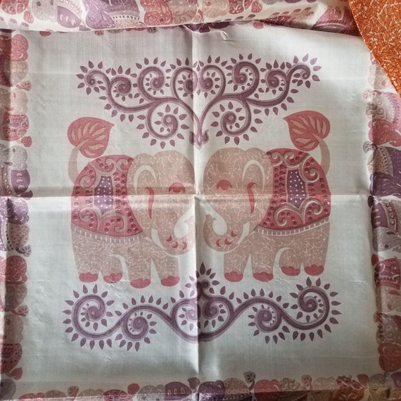 Silk Scarf from Thailand Elephants Purple Orange P