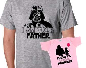 bd628ad3 i am your Father - Daddy's little Princess Star Father's Day Gift Set dad  and daughter baby one piece bodysuit Tshirt matching set