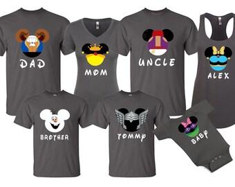 5b122a962 Mickey & Minnie Character Faces Disneyland Disney World family trip vacation  - matching shirts tshirts with names