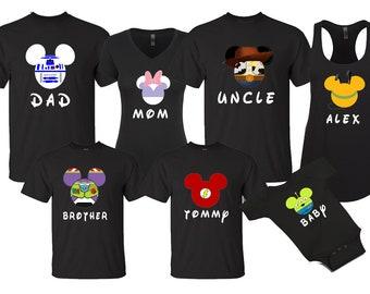 84e91ec9 Mickey & Minnie Princess Superhero Custom Character Faces Disneyland Disney  World family trip vacation - matching shirts tshirts with names