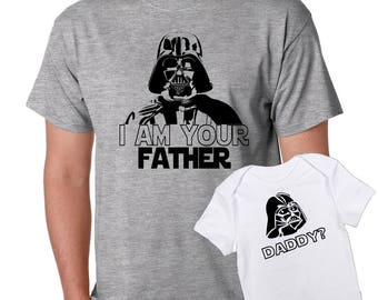 f854f91d i am your Father -Who's your daddy Star Wars dad and son baby one piece  bodysuit Tshirt matching set - father's day gift set