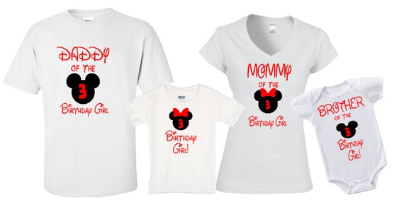 Mickey Minnie Birthday Shirts Group Disneyland Disney World