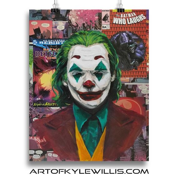 Batman Joker Joaquin Phoenix Collage Painting Fine Art Print