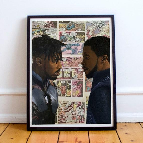 Face Off - Black Panther & Erik Killmonger Collage Painting Fine Art Print