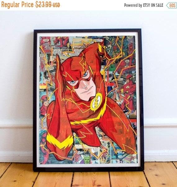 On Sale The Flash - DC Comics Acrylic Collage Painting Fine Art Print