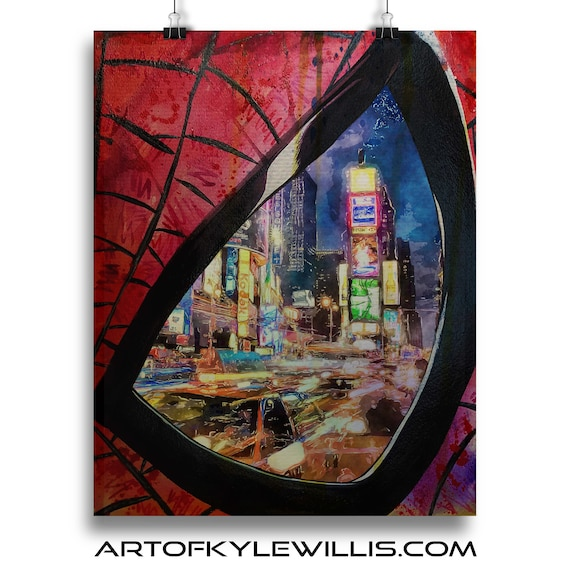 Eye on my City Spider-Man Watercolor Painting Fine Art Print