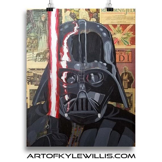 Darth Vader - STAR WARS Sith Lord Acrylic Collage Fine Art Print