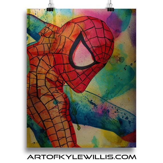 Amazing Spider-Man Cosplay Watercolor Painting Fine Art Print