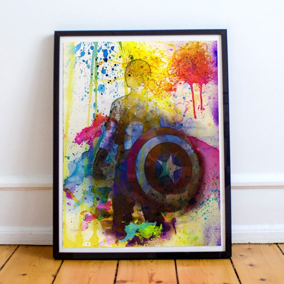 Captain America - Avengers Watercolor Painting Fine Art Print