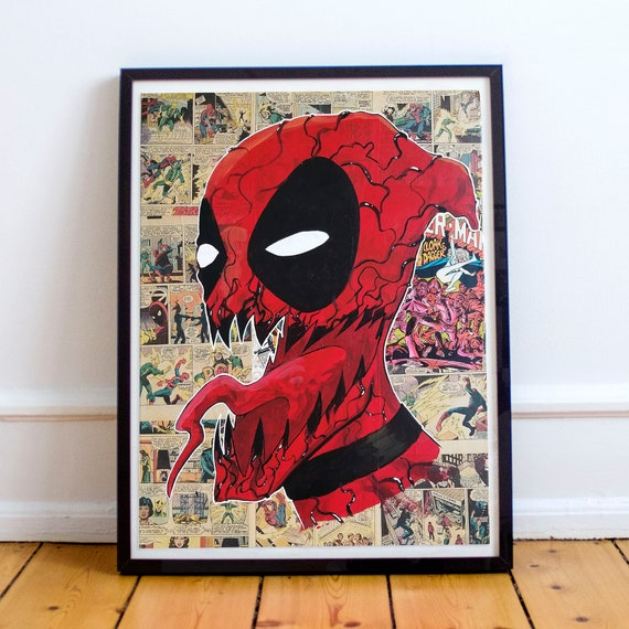 Carpool - Carnage Deadpool Collage Painting Fine Art Print