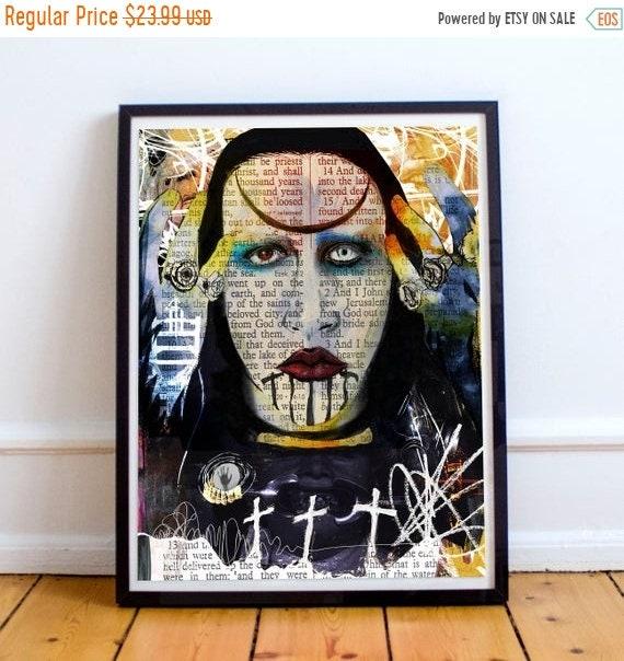 On Sale Marilyn Manson Abstract Nightmare Fine Art Print
