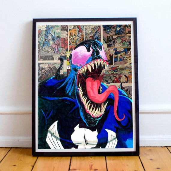 Venom - Amazing Spider-Man Collage Painting Fine Art Print