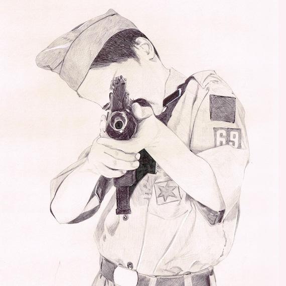 Boy Scout with Uzi ballpoint Pen Illustration