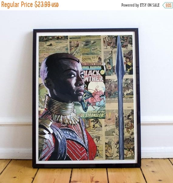 On Sale General Okoye - Black Panther Danai Gurira Collage Painting Fine Art Print