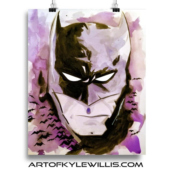 Batman Watercolor Painting Fine Art Print