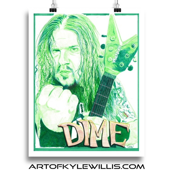 Dimebag Darrell Pantera Ball Point Pen Illustration Fine Art Print