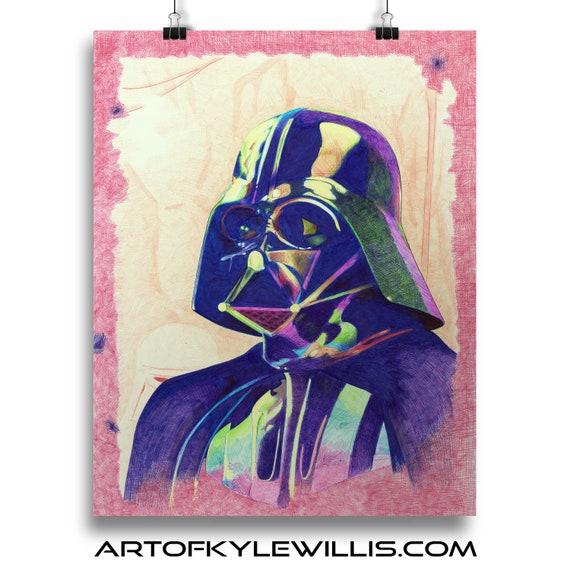 Star Wars Darth Vader The Dark Side Ballpoint Pen Portrait Fine Art Print