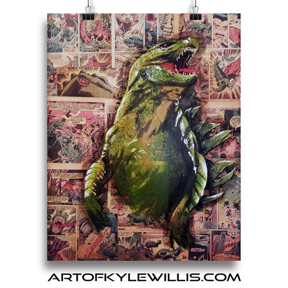 Godzilla - Horror Greature Acrylic Collage Painting Fine Art Print