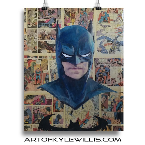 Batman Collage Painting Fine Art