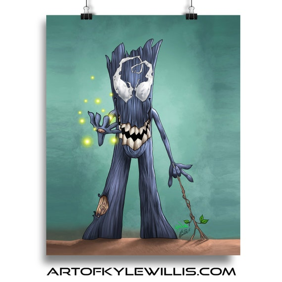 Venom Groot Guardians of the Galaxy Fine Art Print