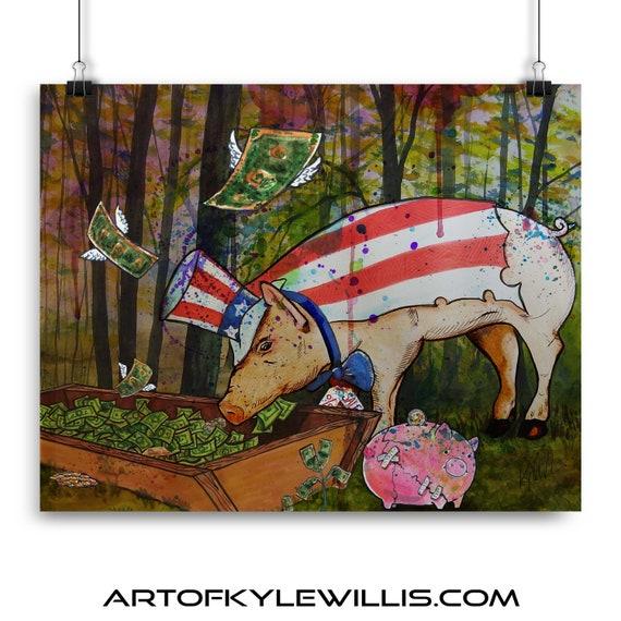Here Piggy, Pig, Pig, Pig - Fine Art Print