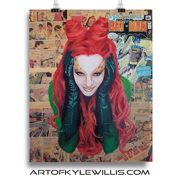Batman Poison Ivy Collage Painting Fine Art Print