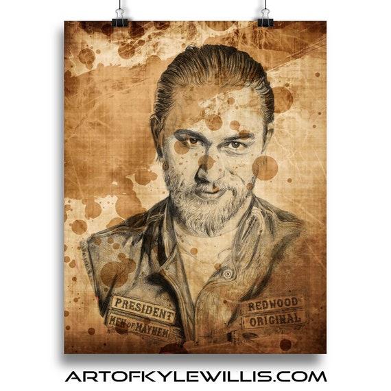 Jax Teller Sons of Anarchy ballpoint pen portrait fine art print