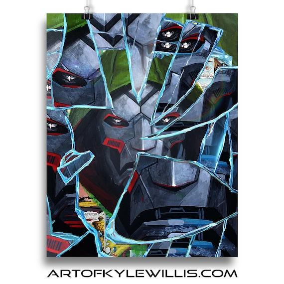 Shattered Doom - Dr Doom Doctor Doom Collage Painting Fine Art Print
