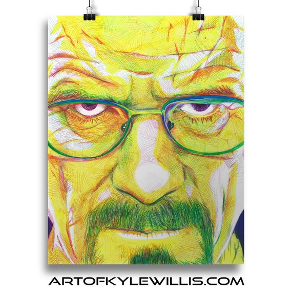 Heisenburg - Breaking Bad Walter White Bryan Cranston Ballpoint Pen Illustration Fine Art Print