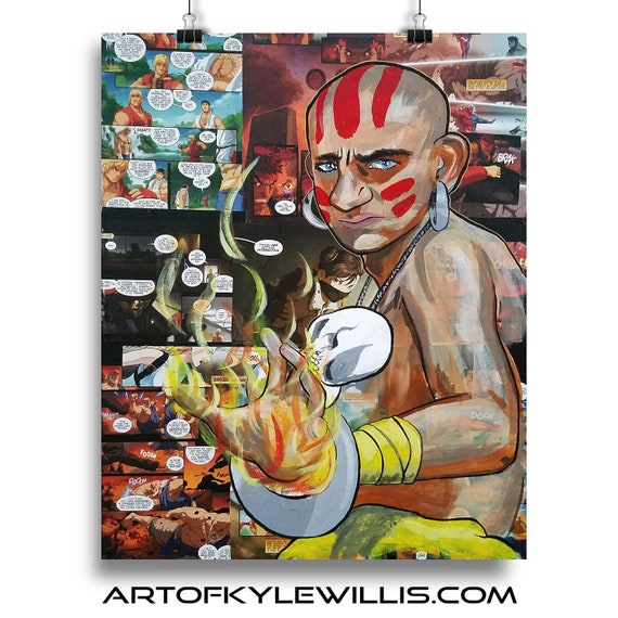 Street Fighter Dhalism Acrylic Painting collage Fine Art Print