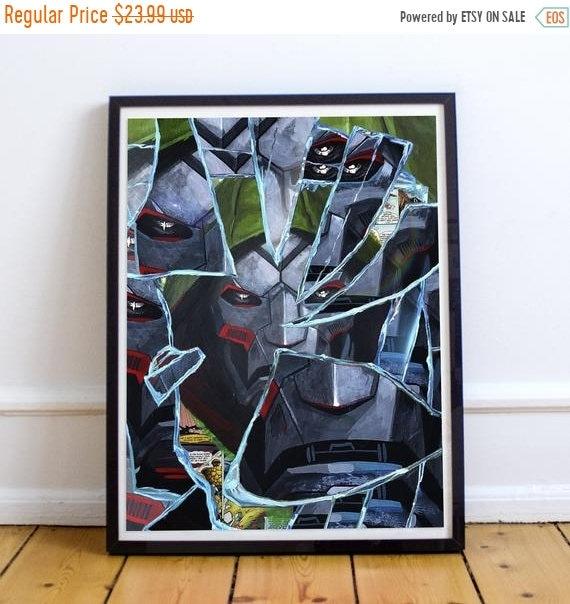On Sale Shattered Doom - Dr Doom Doctor Doom Collage Painting Fine Art Print