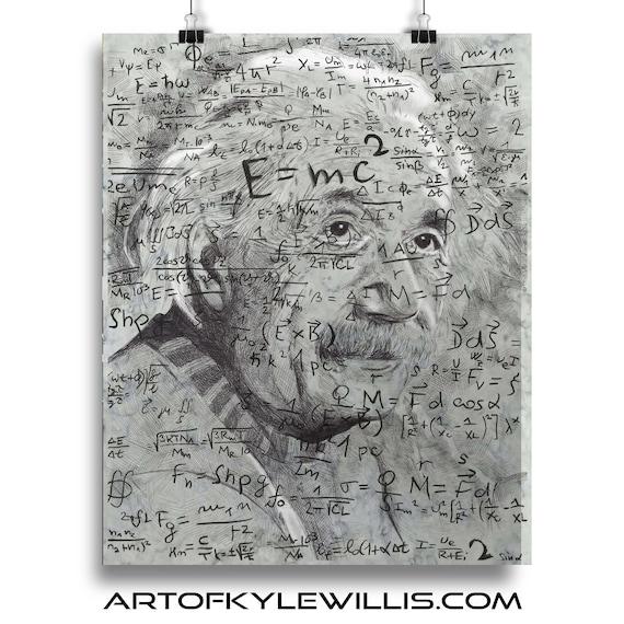 Albert Einstein ballpoint pen portrait Fine Art Print