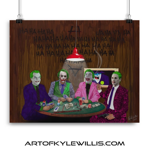 The Joker's Wild - Batman Gotham Villain Dark Knight Playing Poker Cesar Romero, Jack Nicholson, Mark Hamil and Heath Ledger Fine Art Print
