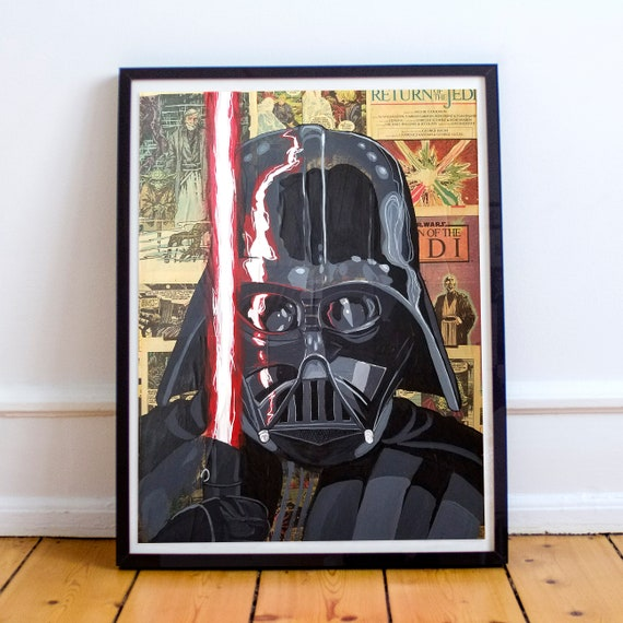 Darth Vader - STAR WARS Sith Lord Acrylic Collage Fine Art Print