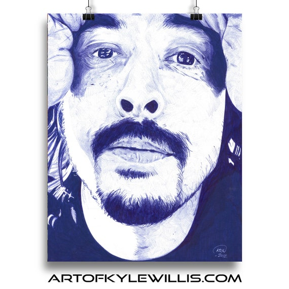 Dave Grohl Ballpoint Pen Illustration Fine Art Print