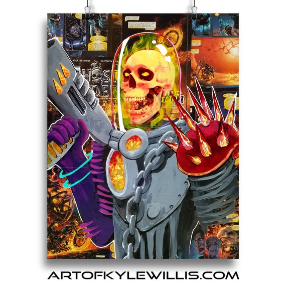 Cosmic Ghost Rider Collage Painting Fine Art Print